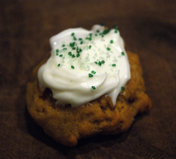 pumpkin walnut cookie with cream cheese frosting