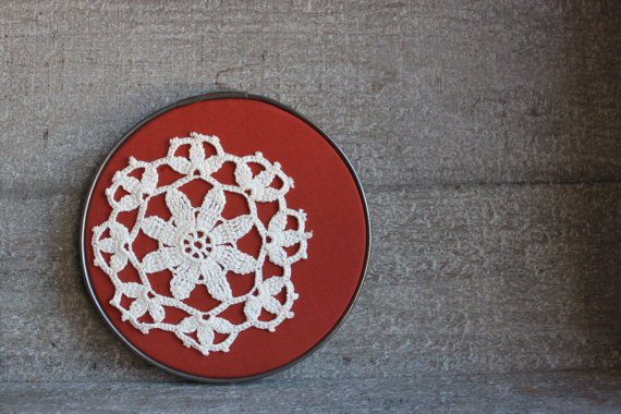 Vintage Embroidery Hoop Lace Doily