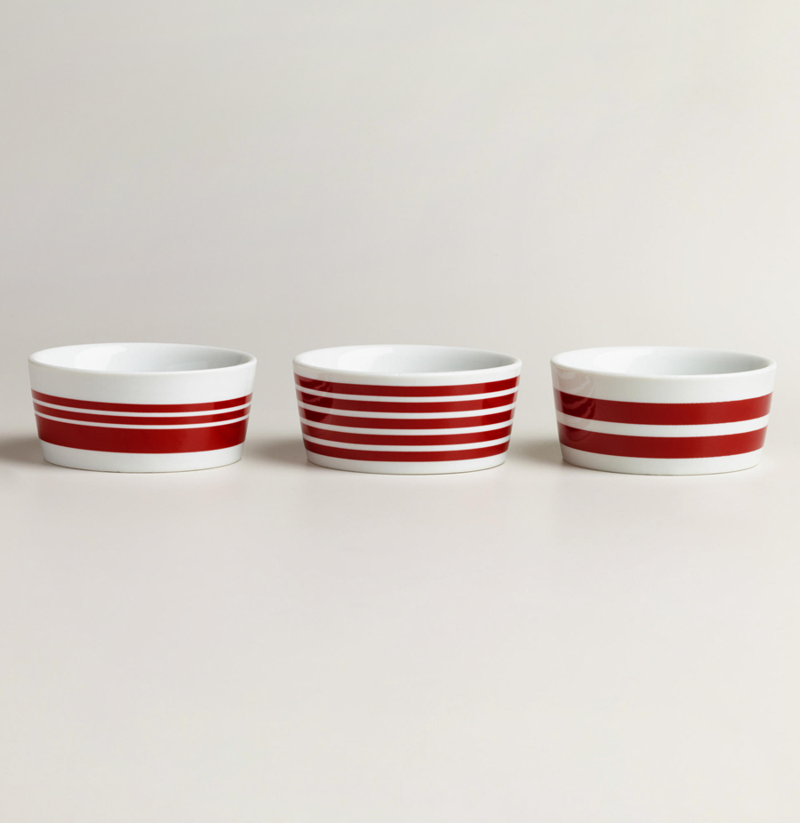 Red Striped Ramekin Set