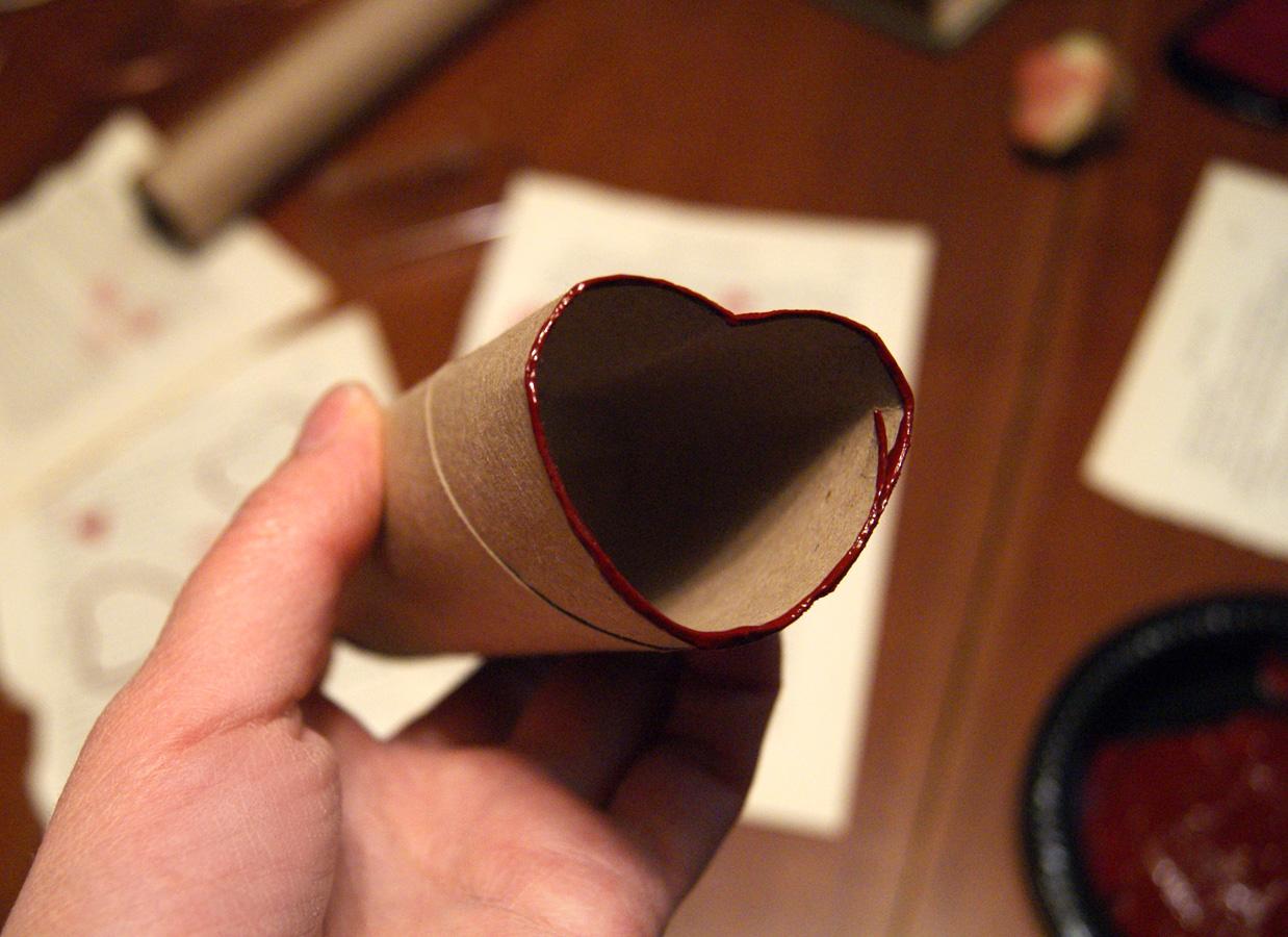 cardboard toilet roll paper heart