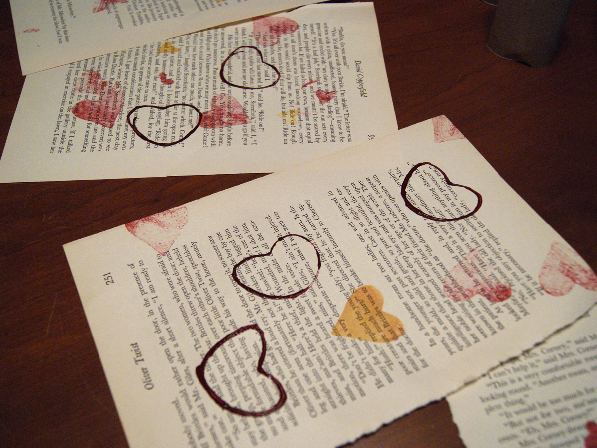 stamping book pages