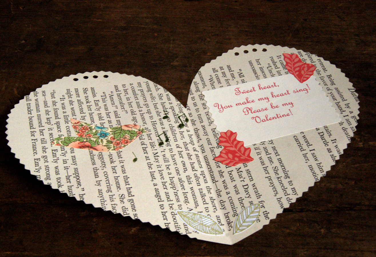 book page valentine for a girl