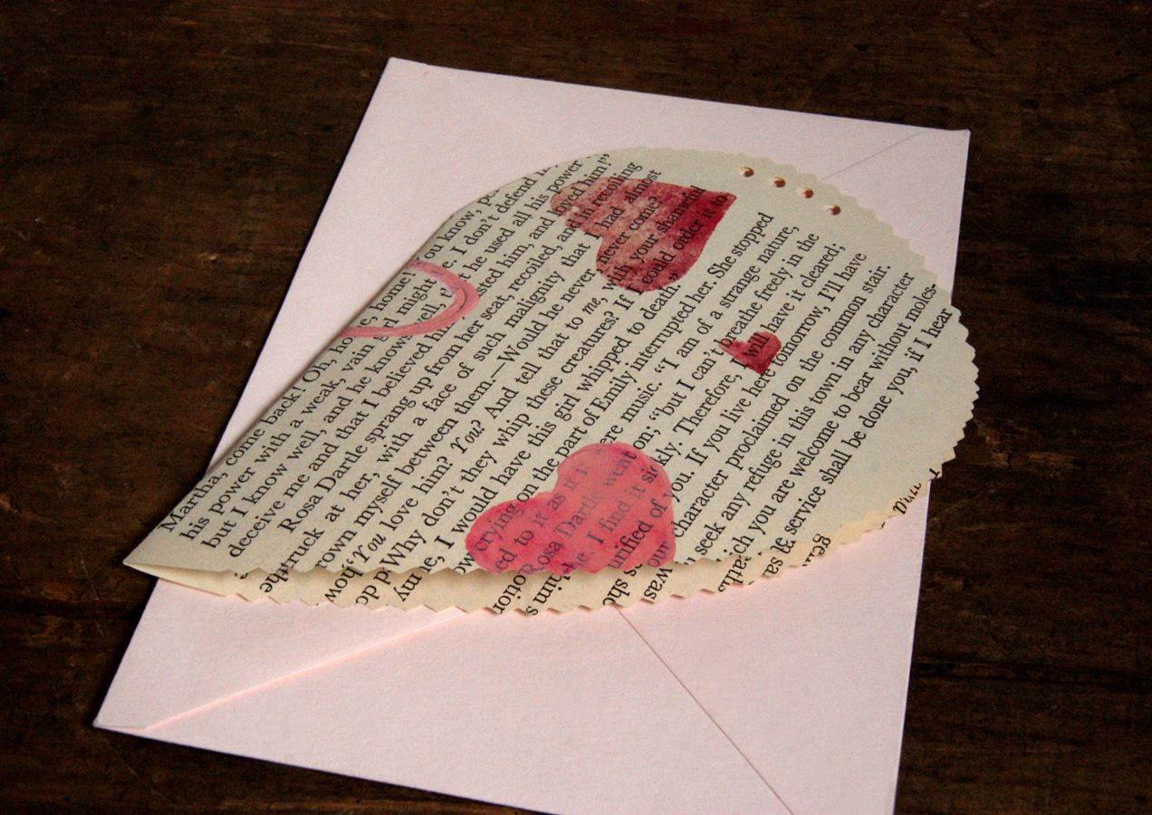 stamped book page valentine