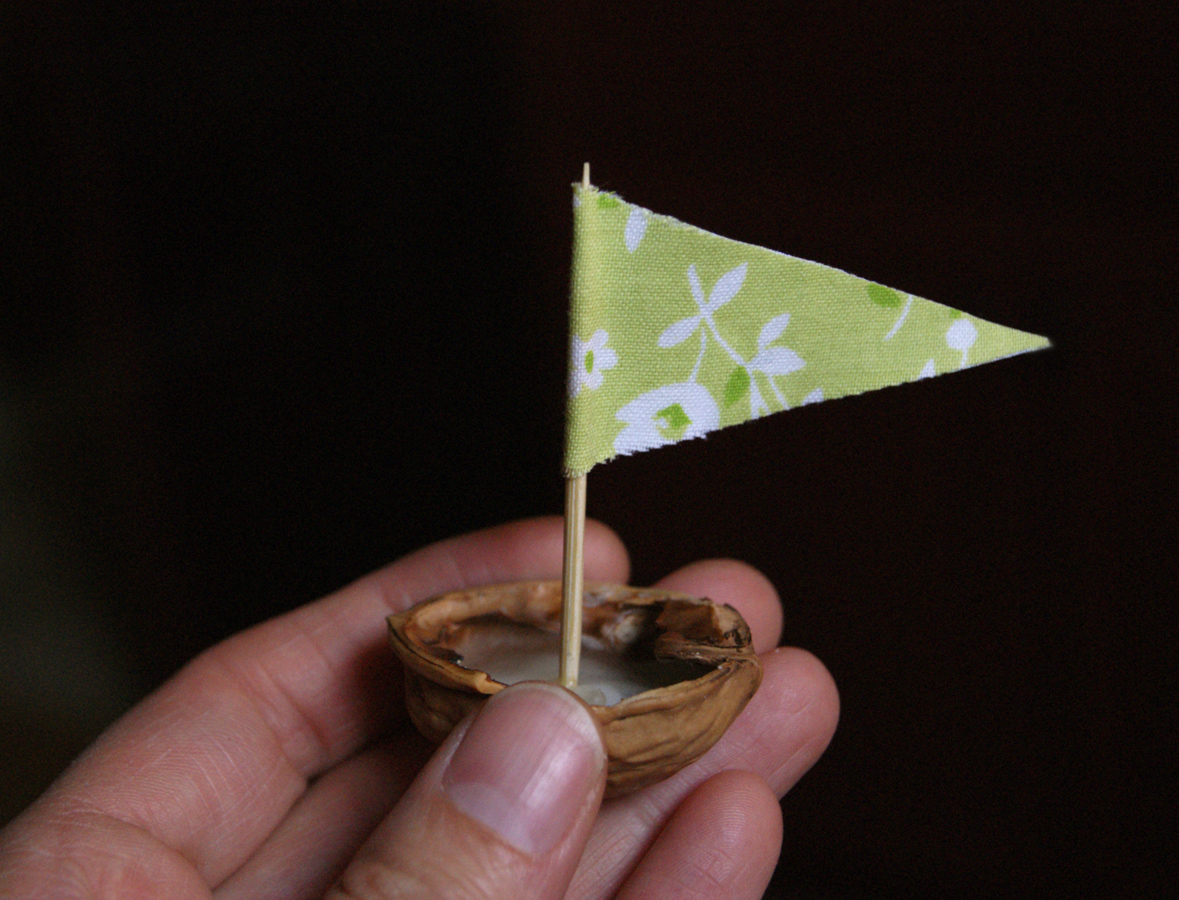 Walnut Shell Boat with fabric sail