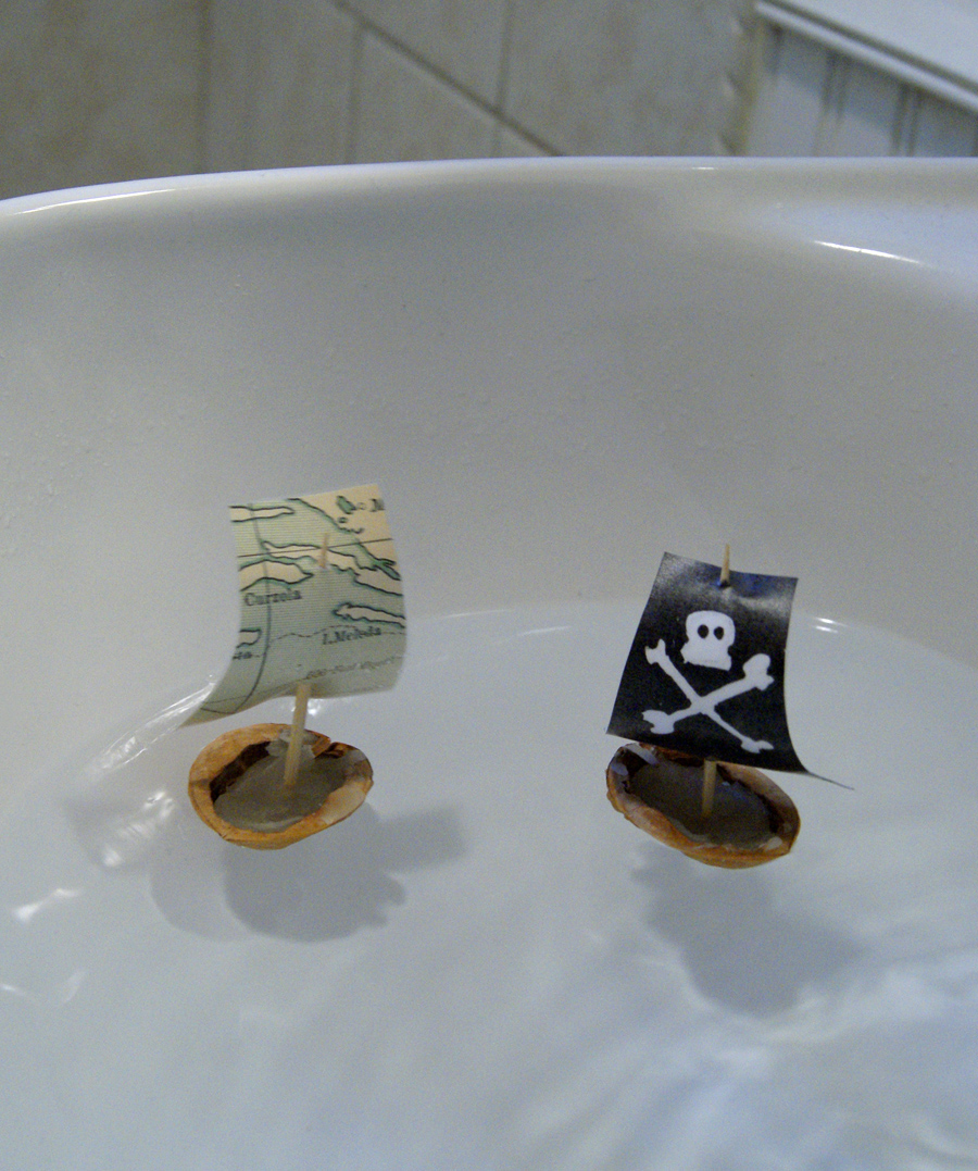 Walnut Shell Boats with laminted paper sails