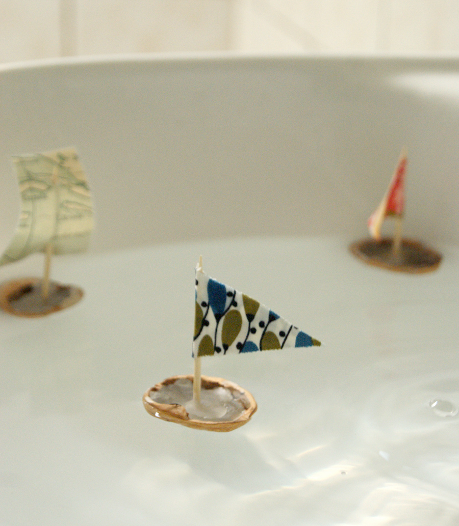 Floating Walnut Shell Boats