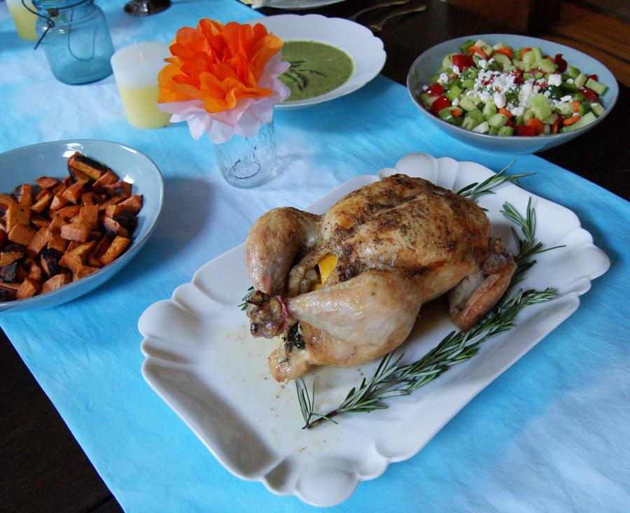 Easter dinner, roast chicken