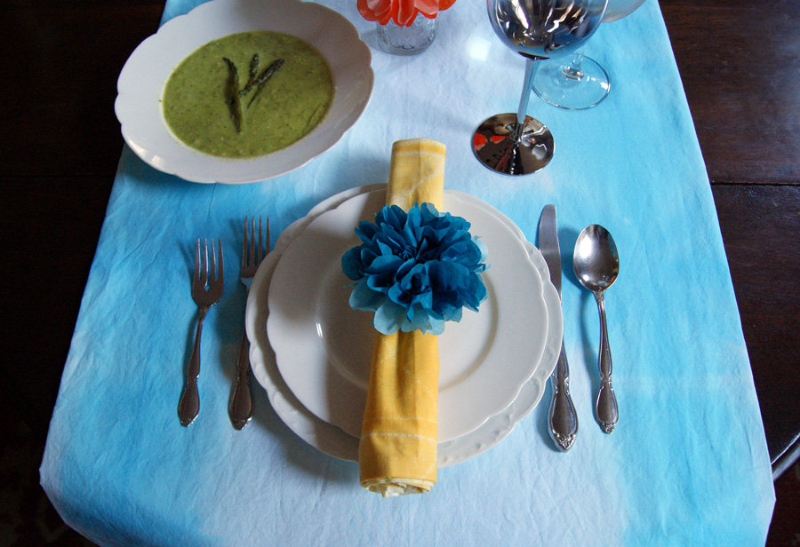 Tissue paper flower napkin ring