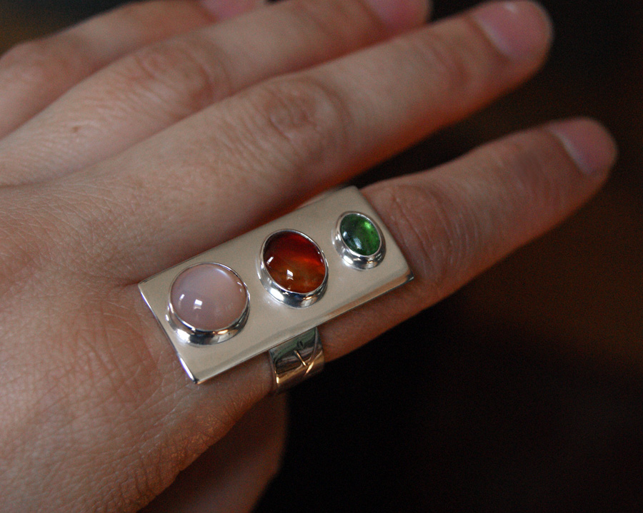 Threesome ring, Peach Moonstone, Carnelian, Grossular Andradite, and silver