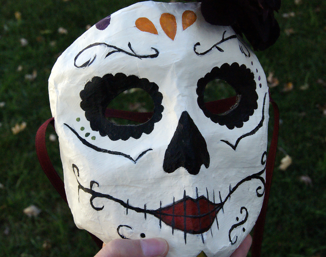 Sugar Skull inspired Papier-mache mask