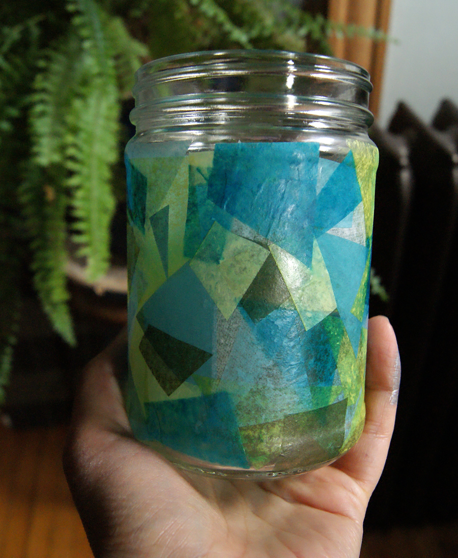 Tissue paper covered candle holder