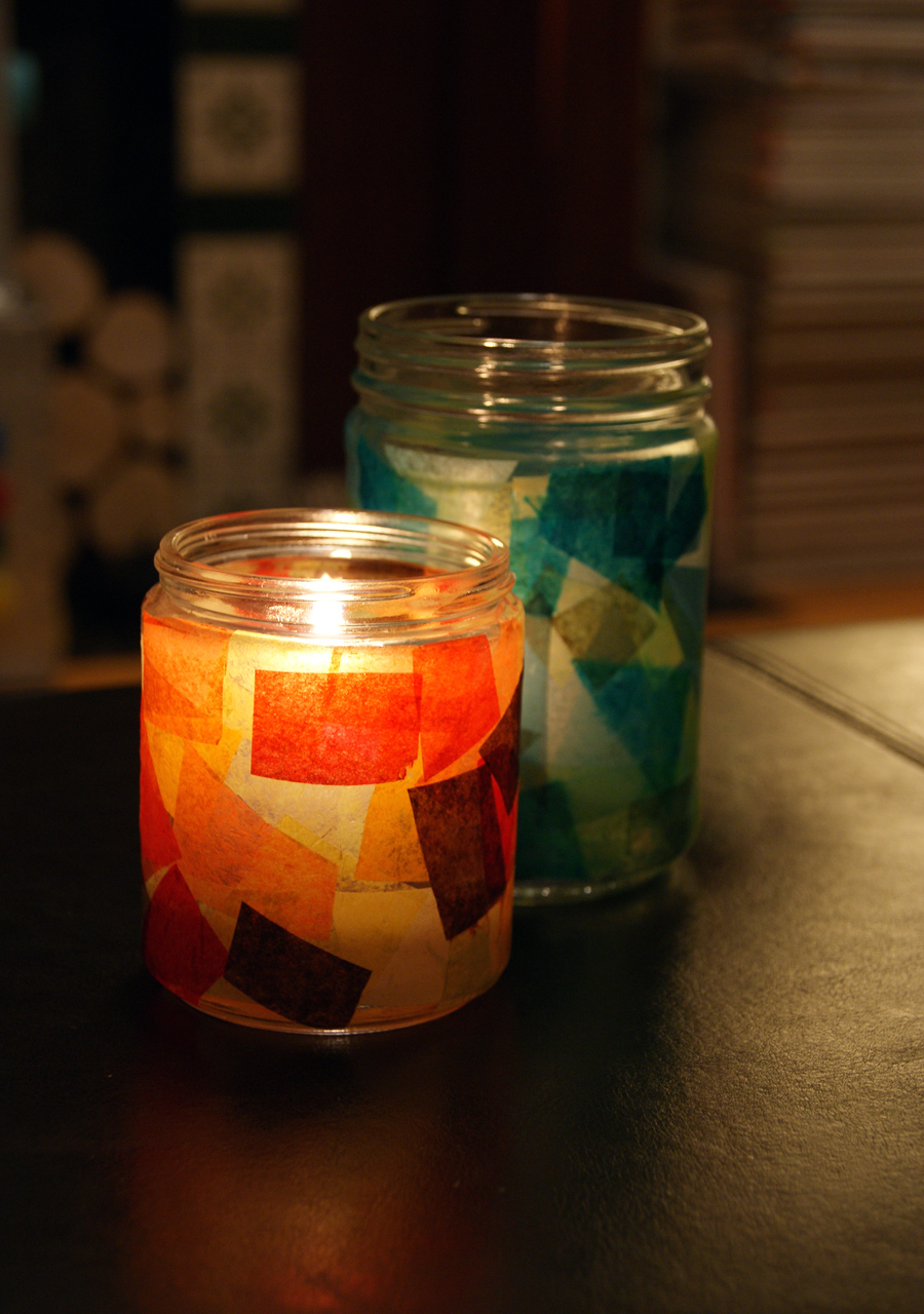 Diy autumn candle holders